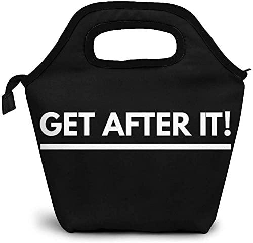 Get After It Lunch Bag para mujer, a prueba de fugas, reutilizable, con aislamiento, nevera, bolso de moda, bolso de mano, para el trabajo, la escuela, al aire libre