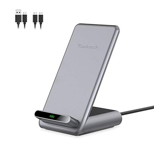 yootech Caricatore Wireless Stand,Caricabatterie Senza Fili,Ricarica Rapida,Qi Charger,15W/10W/7.5W,per iPhone 11/11 Pro/11 Max Pro/XS/XS Max/XR/X/8+/8,Serie Galaxy S20,S10+/S10/S10E/Note 9/S9/S9+/S8+