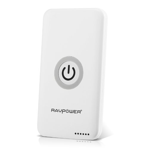 RAVPower Qi-Enabled Single-Position Wireless Charger Charging Pad with built-in 4800mAh Backup Battery- White
