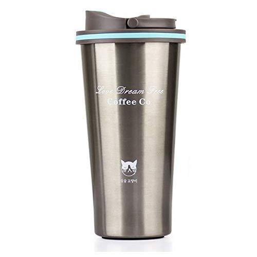 Honeytecs 500 ml de aço inoxidável carro copo de café copo térmico garrafa térmica à prova de vazamentos carro caneca de café de viagem portátil