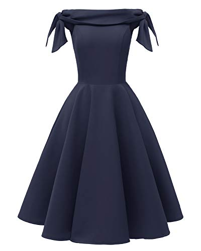 Women's Off The Shoulder Vintage 1950s Bowknot Sleeve Cocktail Party Swing Dress Retro Rockabilly Evening Wedding Prom Dress Navy Blue