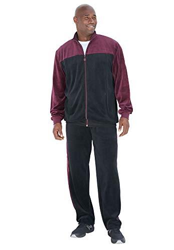 KingSize Men's Big & Tall Colorblock Velour Tracksuit - Big - 4XL, Deep Burgundy Black