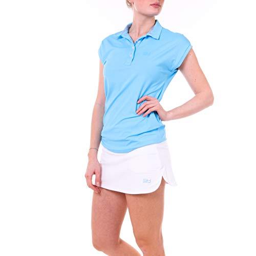 Sportkind Mädchen & Damen Tennis, Golf, Funktions Poloshirt Loose Fit, UV-Schutz UPF 50+, atmungsaktiv, hellblau, Gr. XL
