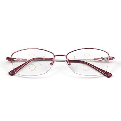XGGYO Lesebrille, Anti-Blaulicht-Gleitsichtbrille für ältere Menschen, HD-Fern- und Nahbereich/rot / +3.5