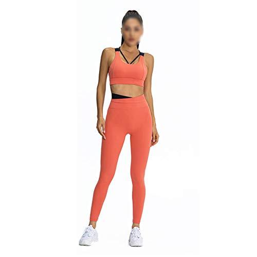 XIANWFBJ Ropa De Yoga para Mujer, Nuevo Sujetador De Colección A Prueba De Golpes De Color En Contraste + Pantalón De Bolsillo Ajustado (Traje De Dos Piezas),Vibrant Orange,S
