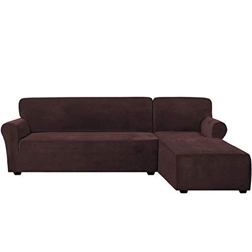 BSFSDWX Thick Velvet L Shaped Sofa Cover Living Room Corner Couch Slipcover Sectional Stretch Elastic Sofa Cover Canap Chaise Longue Coffee Part B-B 90-140cm