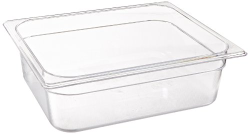 Rubbermaid Commercial Products Cold Food Insert Pan for Restaurants/Kitchens/Cafeterias, 1/2 Size, 4 Inches Deep, Clear (FG124P00CLR)