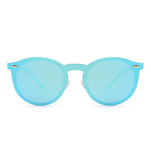 Gafas de Sol Polarizadas Sin Montura Una Pieza Reflexivo Redondas Espejo Anteojos Hombre Mujer