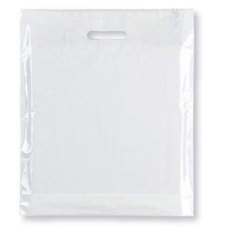 Bolsas de transporte fuertes: 100 bolsas de plástico de alta calidad – color blanco resistente con asa de parche para moda, fiesta, boutique, compras – Sabco, plástico, 12 x 12 x 4