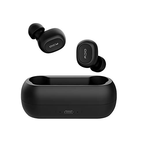 Auriculares Inalámbricos QCY T1C, Compatibles con iPhone, Android y Otros Teléfonos Inteligentes Líderes, Auriculares Bluetooth TWS 5.0 con Micrófono, Negro