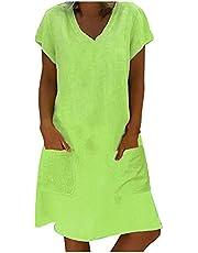 Letnia sukienka damska z dekoltem w kształcie litery V, sukienka midi, sukienka plażowa, sukienka w stylu boho, długość do kolan, letnia lekka sukienka koszulowa, oddychająca sukienka na czas wolny, minisukienka z krótkim rękawem