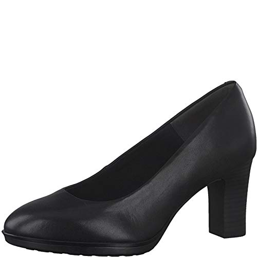 Tamaris Damen Pumps, Frauen Klassische Pumps, businessschuh Office-Schuh büro-Pump flach elegant edel bequem weiblich Lady Women,Black,38 EU / 5 UK