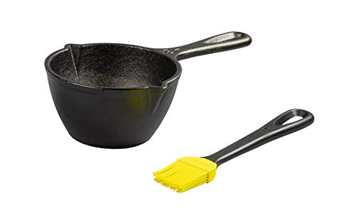 Lodge LMPB21 Cast Iron Silicone Brush Melting Pot, 15.2 oz, Black