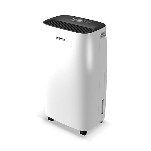 IKOHS DRYZONE XL - Deshumidificador eléctrico, Capaz de eliminar hasta 10 l de humedad diaria, Silencioso, Temporizador, Pantalla táctil, para Habitaciones y Estancias grandes 40m² (Blanco hasta 10 L)