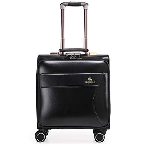 Box - Maleta de viaje de negocios de poliuretano con ruedas, universal, caja de negocios para hombres y mujeres, caja de 16 pulgadas, Negro  (Negro) - ngsen