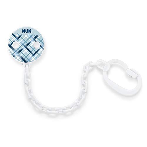 NUK Schnullerkette mit Clip, für alle Schnuller mit Ring, BPA-frei, 1 Stück, Snow (blau)