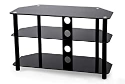 Dimensions: W800 x D390 x H500 mm - Holds up to 30kg - Suitable for TVs up to 40 inch Piano black glass shelves Angled back - ideal for a corner or flat against a wall Glass Toughened to British Standards BS6206A. Cable Management