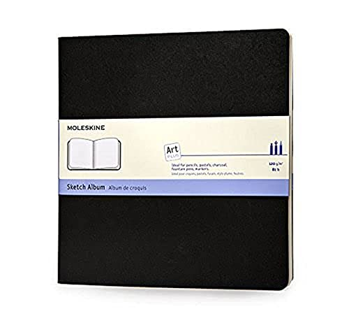 Moleskine - Art Collection, Cuaderno de Dibujo con Tapa Dura, Papel Apto para Bolígrafos, Lápices, Carboncillo, Color Negro, Tamaño Cuadrado 19 x 19 cm, 88 Páginas 🔥