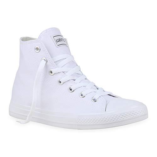 stiefelparadies Herren High Top Sneakers Schnürer Sportschuhe 177212 Weiss White 46 Flandell