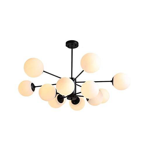 LYMHGHJ Lámpara de araña Moderna Mid-Century, lámpara Colgante de 8 Luces, Pantalla de Globo Esmerilado E27 Durante la luz, lámpara de Techo Color Crema castaño Rojizo de 8 Luces Crema
