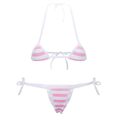 Cute Sexy Anime Lingerie Bra and Panty Set Lolita Cosplay Micro Underwear Suit Kawaii for Women(Pink Stripe(Mini))