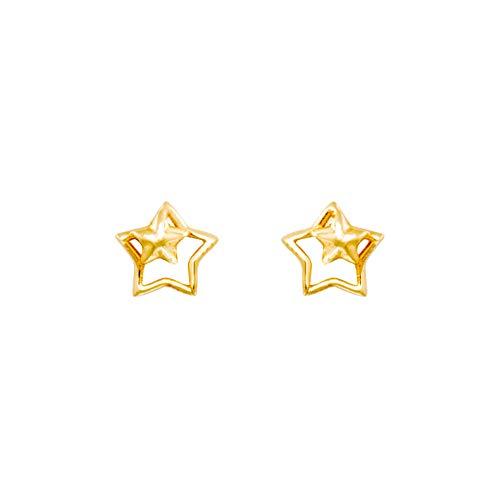 Pendientes de doble estrella oro amarillo (375/1000)