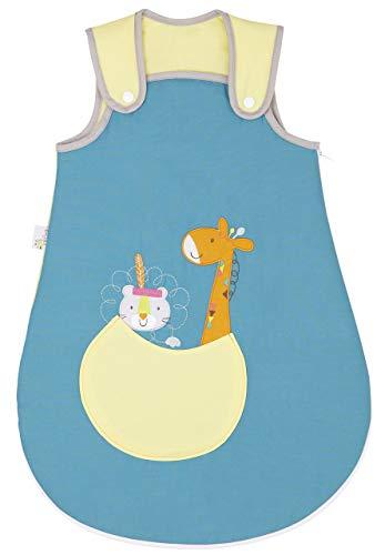 P'tit Basile - Petite Gigoteuse naissance bébé en coton BIO- collection La savane en folie. 0-6 mois - 70 cm - mi saison - large ouverture pour coucher facilement bébé