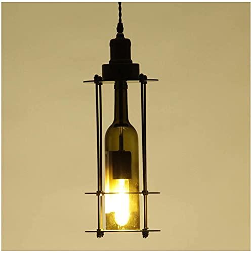 NZDY Lámpara de iluminación de techo interior, lámpara de comedor de estilo industrial americano retro, lámpara colgante de lámpara de botella de vino de vidrio con personalidad creativa