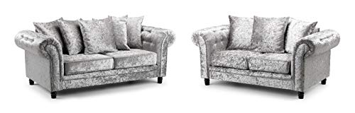 Honeypot - Sofa - Fulham - Silver - Crushed Velvet - 3 + 2 Seater Sofa