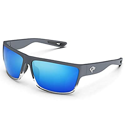 TOREGE Polarized Sports Sunglasses for Men and Women Cycling Running Golf Fishing Sunglasses TR26 (Matte-Transparent Grey Frame &Ice Blue Lens)