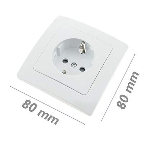 BeMatik - Base de enchufe schuko empotrable con marco 80x80mm serie Lille de color blanco (ME028)