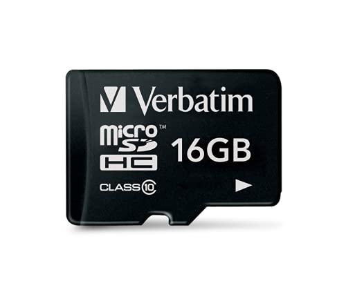 Verbatim Premium microSDHC Speicherkarte I 16 GB I SD Karte für Full-HD Videoaufnahmen I schwarze Speicherkarte wasserabweisend & stoßfest I SD Speicherkarte für Kamera Smartphone Tablet