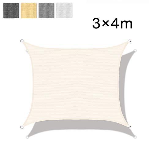 LOVE STORY Toldo Vela de Sombra(HDPE) Rectangular 3×4m Crema Protección UV para Terraza Camping Jardín al Aire Libre