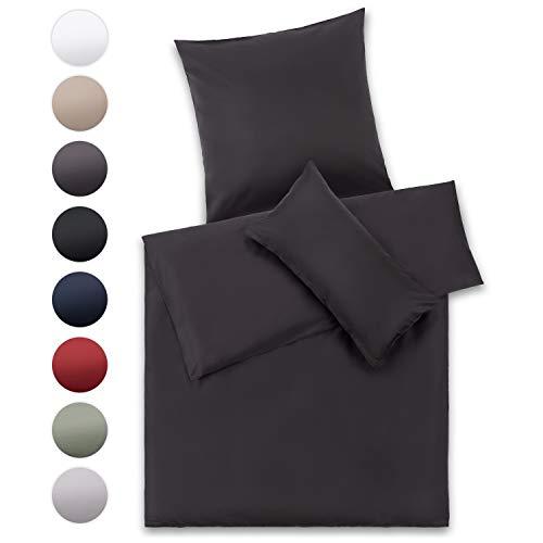 Blumtal Mako Satin Bettwäsche 155x220 cm mit Kissenbezug 80x80 cm - 100% Baumwolle, Superweiches Bettbezug Set Dunkel Grau, Anthracite