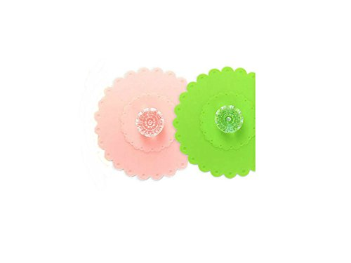 AKOAK 2 PCS New Cute Anti-dust Silicone Acrylic Diamond Glass Cup Cover Coffee Mug Suction Seal Lid Cap,Light Pink and Green