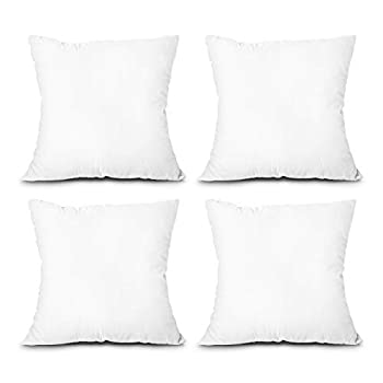 EDOW Throw Pillow Inserts Set of 4 Lightweight Down Alternative Polyester Pillow Couch Cushion Sham Stuffer Machine Washable  White 18x18