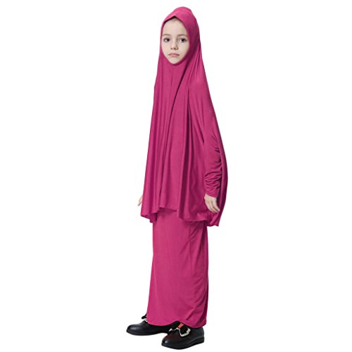 D DOLITY Mädchen Muslim Großen Overhead Hijab Abaya Jilbab Islam Gebet Rock Für Hadsch Umrah - Rosenrot, M
