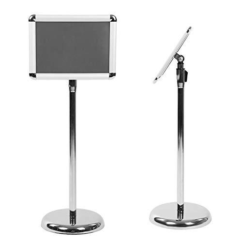 A4 - Soporte para posters ajustable de acero, reemplazable, para publicaciones en Rack, para restaurantes, tiendas, oficinas, 32,5 x 24 x 80 – 120 cm, plateado (ángulo redondeado)