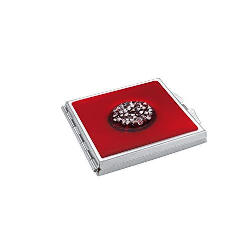 ba bijou-art Miroir de poche pliable en acier inoxydable avec cristaux Swarovski Rouge