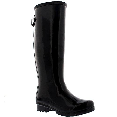 Polar Womens Adjustable Back Tall Gloss Winter Snow Rain Wellies Wellington Boots - Black - 3-36 - CD0019