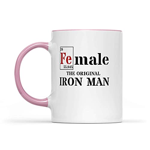 N\A FE (Macho) Accent 11oz Tazas Mujer - La Taza de café Original de Iron Man Pink Accent Ceramic - Idea Fuerza Feminista Regalo Mujer Taza de café
