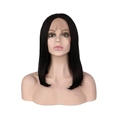 WOHAO Perruque Courte Carve européenne et de la Mode Perruque Courte bob Perruque de Dentelle de Cheveux Avant (Couleur: Noir) (Color : Black)