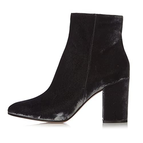 Mujer Zapatos de Tacón Alto Botines de Tacón Bloque Gamuza Botas Cortas al Tobillo Suede Ankle Boots Botín con Cremallera Casual Tacones Altos Botas Chelsea,Gris,36 EU