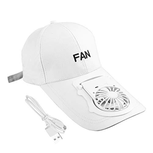 Duyifan Hut mit Ventilator, Eiskappen-lüfter, Usb-akku, 3-gang Mit 3-stufigem Luftstrom-ventilatorhut, Zum Wandern, Gehen (white)