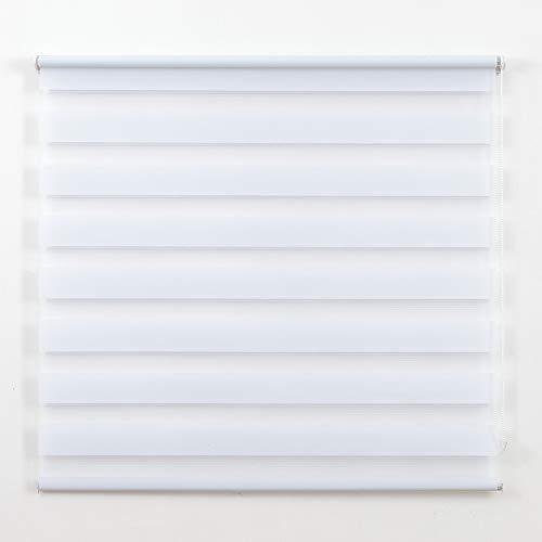 Frenessa Estor Enrollable Doble Tejido Noche y Día Persiana Enrollable para Ventanas Puertas Dormitorios Oficinas, Blanco, 120 x 180 cm
