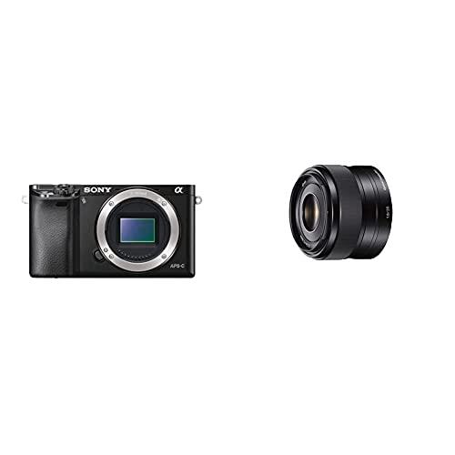 Sony A6000 - Cuerpo de cámara Evil de 24 MP (Enfoque automático híbrido rápidovídeo Full HD, WiFi), Negro + SEL35F18 - Objetivo para Sony/Minolta