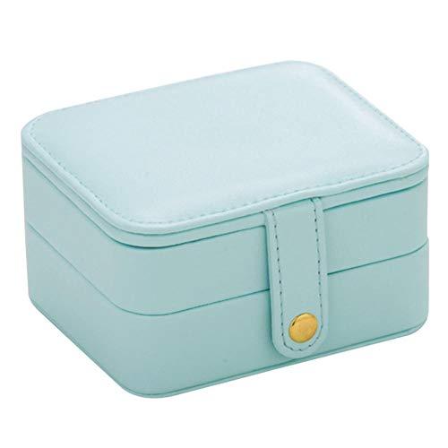 Pendientes de anillo de viaje para mujeres y niñas, color azul, organizador de almacenamiento de joyas de cuero, joyería interior de terciopelo
