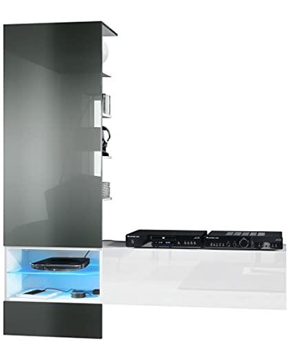 Vladon Combinaison Murale Manhattan, Corps en Blanc Mat/Façades en Blanc Haute Brillance, Panneau en Gris Haute Brillance avec l'éclairage LED