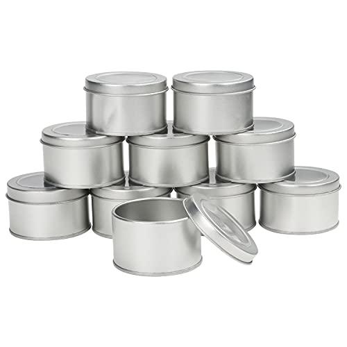 Kurtzy Cajitas de Metal Redondas Aluminio con Tapa (Pack de 10) 6,5 x 4 cm – Set Caja Aluminio Vacía Almacenaje de Viaje – Contenedores para Manualidades, Cosméticos, Bálsamo Labial, Especias