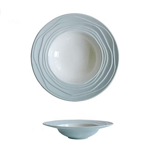 Assiette Sélection Tricolore Chapeau De Paille Design Mat en Céramique pour Pâtes Western Dish À Soupe Vaisselle 23cm (Color : Green, Size : 23 * 4.8cm)